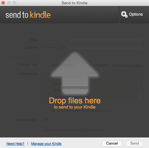 send to kindle start up screen